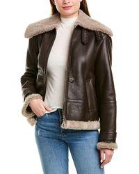 Helmut Lang Shearling Leather Jacket - Brown