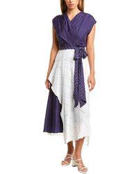 Nicole Miller Silk-blend Dress - Blue