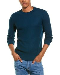 Stone Rose Waffle Wool-blend Crewneck Jumper - Blue