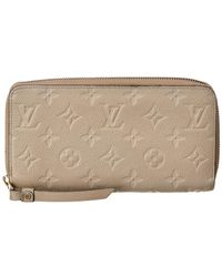 Louis Vuitton Beige Monogram Empreinte Leather Zippy Wallet - Natural