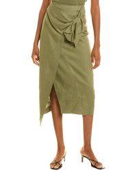 Donna Karan Signature Linen Sarong Skirt - Green