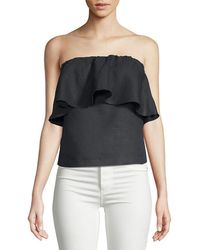 Saks Fifth Avenue Black - Linen Strapless Top - Lyst