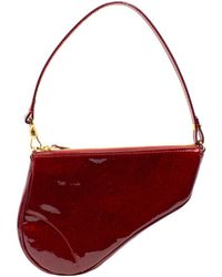 Dior Limited Edition Rouge Vernis Leather Issimo 3d Saddle Bag - Red