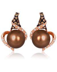 Le Vian 14k Strawberry Gold 0.17 Ct. Tw. Diamond 8-9mm Pearl Earrings - Multicolour