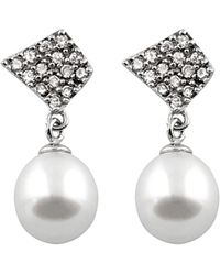 Splendid - Silver 7.5-8mm Freshwater Pearl Earrings - Lyst