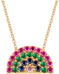 Gabi Rielle 22k Over Silver Cz Rainbow Necklace - Red