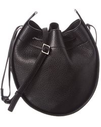 The Row Drawstring Leather Pouch - Black