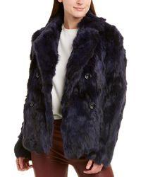 Adrienne Landau Textured Rabbit Pea Coat - Blue