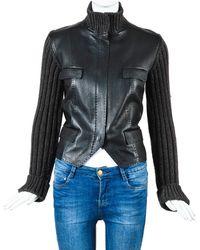 Hermès Leather Trim Sweater Jacket, Size Fr 36 - Multicolor