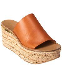 Chloé Camille Leather Platform Wedge Sandal - Brown