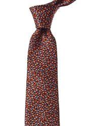 Lanvin Brown Leaves Silk Tie