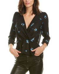 A.L.C. Rena Wrap-effect Floral-print Silk Peplum Top Black