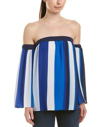 Cece by Cynthia Steffe Off-the-shoulder Bold Escape Shirt - Blue