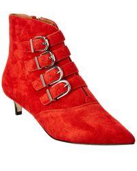 Joie Calinda Suede Kitten Heel Bootie - Red