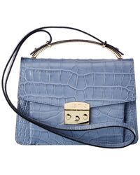 Valentino By Mario Valentino Belle Croc-embossed Leather Satchel - Blue