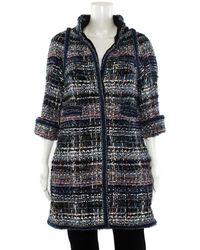 Chanel Fantasy Blue Metallic Tweed Coat, Size Eu 34