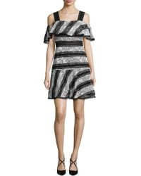 ABS By Allen Schwartz Lace And Eyelet Striped A-line Dress - Black