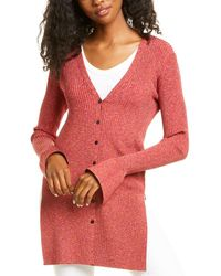 Theory Rib Cabled Cardigan - Red