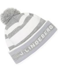 J.Lindeberg Golf Stripe Golf Beanie - Gray