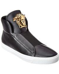 Versace Medusa Buckle Palazzo Leather High-top Sneaker - Black