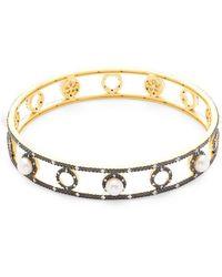 Freida Rothman - Faux Pearl Eternity Bangle Bracelet - Lyst