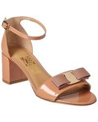 Ferragamo Gavina Vara Bow Patent Sandal - Pink