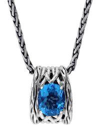 Effy Silver Blue Topaz Pendant Necklace