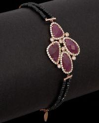 Meira T 14k Rose Gold Plated 7.35 Ct. Tw. Diamond Bracelet - Black