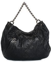 Chanel - Black Quilted Lambskin Leather Hobo - Lyst