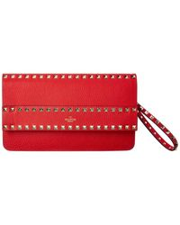Valentino Rockstud Leather Clutch - Red