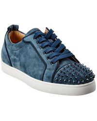 Christian Louboutin Louis Junior Spikes Suede Sneaker - Blue