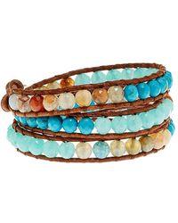 Chan Luu Silver & Leather Gemstone Wrap Bracelet - Multicolour