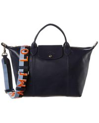 Longchamp Le Pliage Cuir Medium Leather Logo Strap & Short Handle Tote - Blue