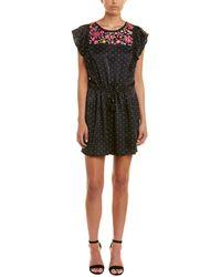 Figue Theresa Aztec-dot Floral-embroidered Bib Cap-sleeve Silk Satin Dress - Black