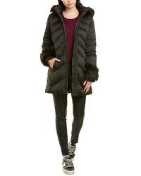 Via Spiga Belted Puffer Coat - Black