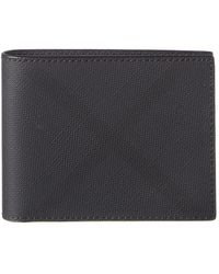 Burberry London Check And Leather Bifold Wallet - Grey