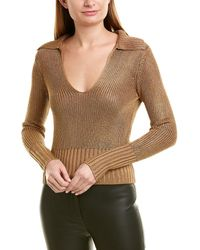 Theory Collared V-neck Sweater - Brown