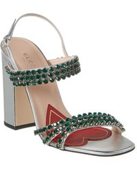 Gucci Bertie Crystal Strappy Leather Sandal - Metallic