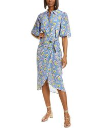Les Rêveries Ruffle Silk Shirtdress - Blue