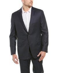 Hickey Freeman 2pc Beacon Traveller Wool Suit With Flat Pant - Blue