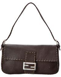 Fendi Brown Selleria Leather Baguette Bag