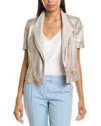 Akris Punto Leather Top - Grey