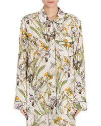 Alexander McQueen Floral-print Silk Pajama Top - Multicolor