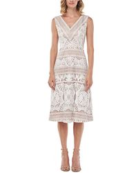 Kay Unger Priscilla Chemical Lace Midi Dress - White