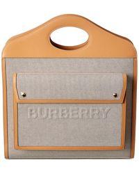 Burberry Medium Canvas & Leather Shoulder Bag - Natural