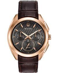Bulova Men's Leather Watch - Metallic
