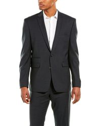 Vince Camuto Gray Solid Two Button Notch Lapel Wool Slim Fit Suit