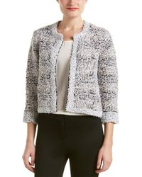 Magaschoni Silk & Cashmere Blend Texture Tweed Jacket - Black