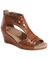 Earth Attalea Leather Wedge Sandal - Brown