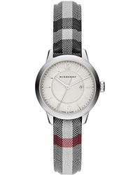 Burberry - Diamond, Stainless Steel & Leather Strap Watch - Lyst